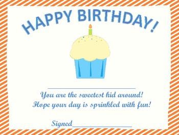 Cupcake Birthday Certificates