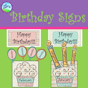 Cupcake Birthday Display/Chart with Candles and/or Balloons