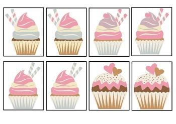 Cupcake Cafe - Sweet Treats Card Matching Game For K-4 Fun Activity