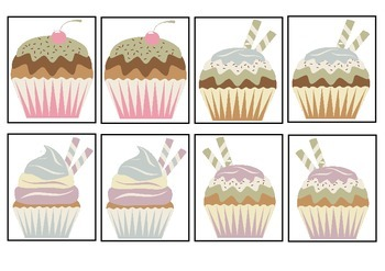 Cupcake Cafe - Sweet Treats Card Matching Game For K-4 Fun Activity