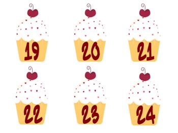 Cupcake Calendar Numbers
