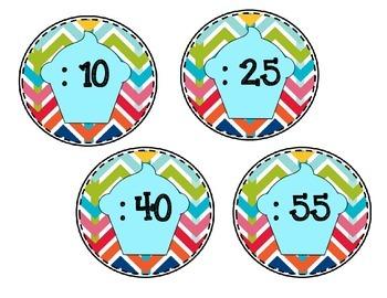 Cupcake/ Chevron Clock Labels