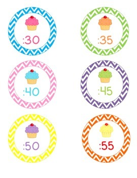 Cupcake & Chevron Clock Labels