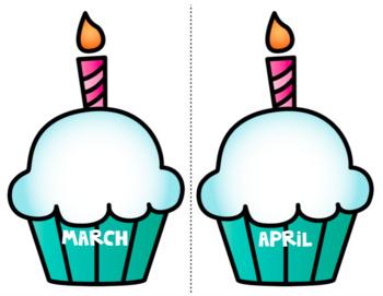 Cupcake Classroom Birthday Chart Bulletin Board