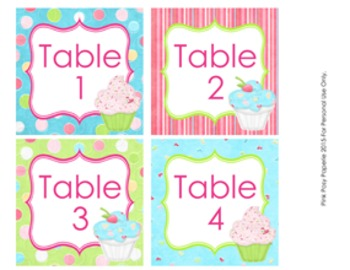 Cupcake Classroom Decor Table Numbers