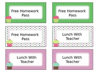 Cupcake Classroom Management Positive Reward Tickets Editable