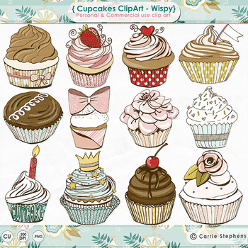 Birthday Cupcake ClipArt, Pretty Pastel Pink, Chocolate cherry, Celebration