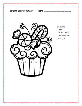 Cupcake Color-by-number Easy (Holiday)