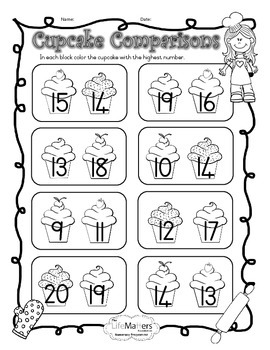 Cupcake Comparisons Coloring Worksheet Differentiated for Numbers 1-10 and 11-20