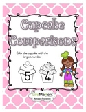 Cupcake Comparisons Coloring Worksheet for Numbers 1-10 FREEBIE