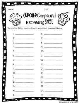 Cupcake Compound Word Game