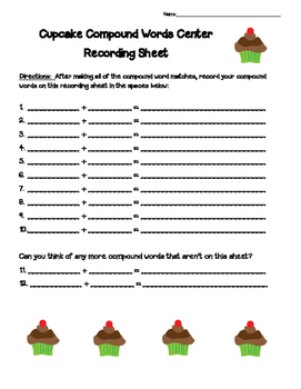 Cupcake Compound Words matching center with recording sheet