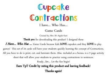 Cupcake Contractions I Have...Who Has...