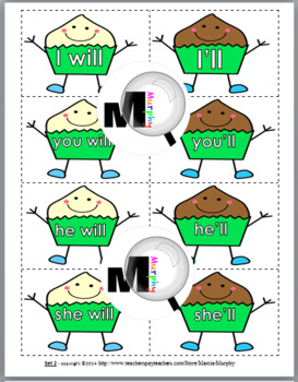 Contractions Matching - with not, is, am, are, have, will, would