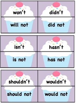 Cupcake Contractions Matching Cards