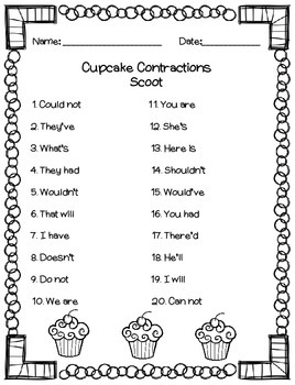 Cupcake Contractions Task Cards