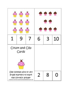 Cupcake Count and Clip preschool math cards.  Child care business curriculum.