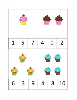 Cupcake Count and Clip preschool math cards.  Child care b