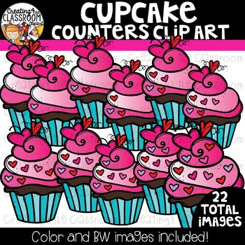 Cupcake Counters Clipart  {Valentine's Counting Clipart}