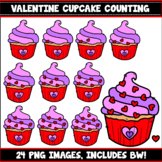 Cupcake Counting Clipart Set 2 (Valentine's Day)