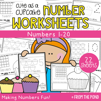 Number Worksheets - Cute as a Cupcake