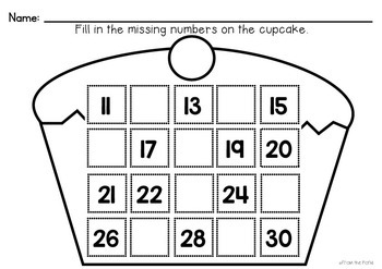 Valentine's Day Math Number Worksheets - Cute as a Cupcake
