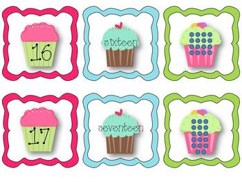Cupcake Counting Numbers 0-20