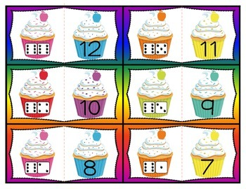 Cupcake Counting Numeral Recognition and Counting 1-12 Kindergarten Subitize