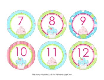 Cupcake Cubby Number Labels 1-30