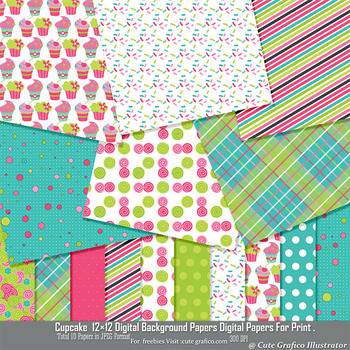 Cupcake Cutie 12×12″ Digital Background Papers