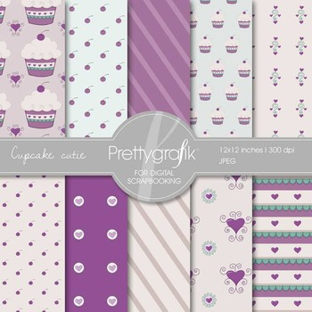 Cupcake Cutie digital paper, commercial use, scrapbook papers, background- PS547