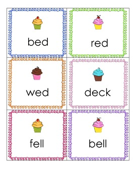 Cupcake Cuties /e/ and /i/ Short Vowel Picture Word Sort