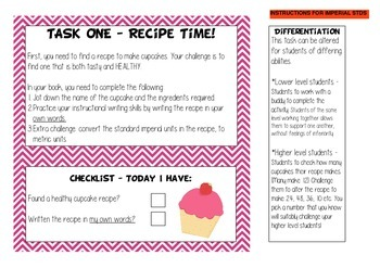 Cupcake Day Maths & Literacy Inquiry Project