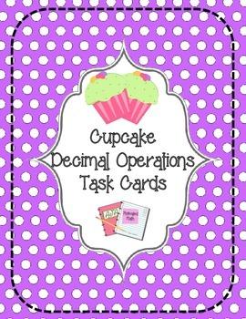 Cupcake Decimal Operations Task Cards