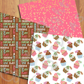 Cupcake Digital Papers / Cupcake Backgrounds / Commercial Use Party Papers