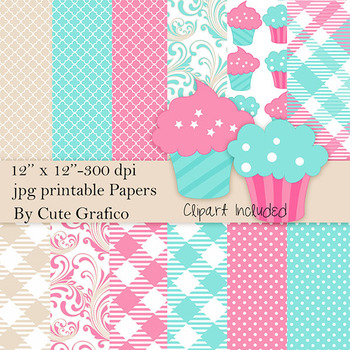 Cupcake Digital Papers and Clipart, Cuppies Birthday Party Scrapbooking Papers,