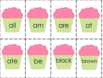 Cupcake Dolch Primer Sight Words