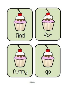 Cupcake Dolch Words