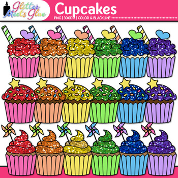 Birthday Party Cupcake Clip Art {Rainbow Glitter Treats for Scrapbooking} 1