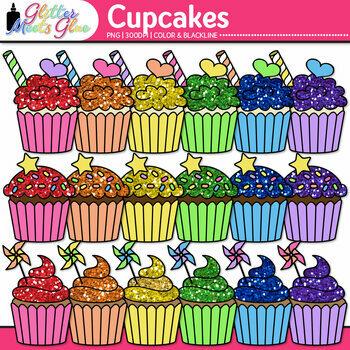 Birthday Party Cupcake Clip Art {Rainbow Glitter Treats for Scrapbooking} 1