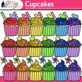 Birthday Party Cupcake Clip Art | Rainbow Glitter Treats for Scrapbooking 1
