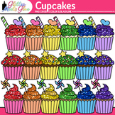 Birthday Party Cupcake Clip Art {Rainbow Glitter Treats fo