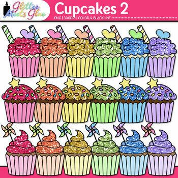 Birthday Party Cupcake Clip Art {Rainbow Glitter Treats for Scrapbooking} 2