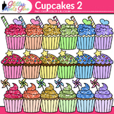Birthday Party Cupcake Clip Art: Rainbow Dessert Graphics 2 {Glitter Meets Glue}