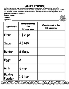 Cupcake Fractions-Multipying and Dividing