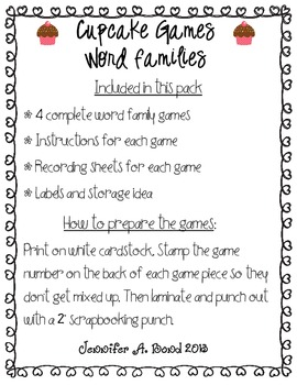 Cupcake Games - Word Families