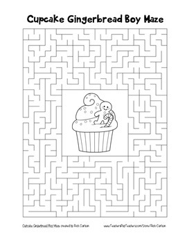 """""""Cupcake Gingerbread Boy"""" Maze! Holiday FUN! (Color and Black Line)"""