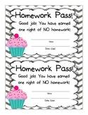 Cupcake Homework Pass