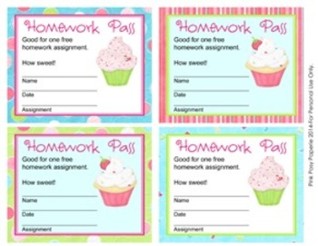 Cupcake Homework Passes
