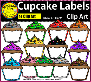 Cupcake Lables Clip Art  Personal and Commercial Use